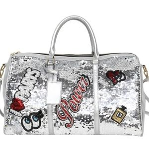NEW Silver Black Pink Sequin Oversized Large Totes